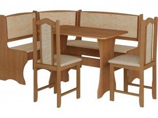 Virtuvės komplektas kampinis su kėdėmis